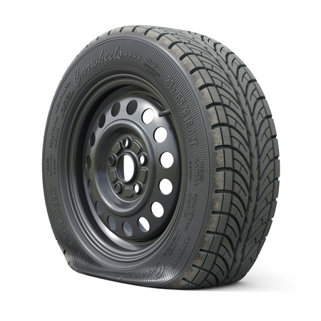 Photo for Punctured car wheel isolated on white background. 3d render illustration - Royalty Free Image