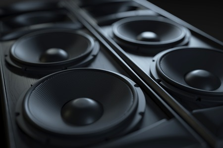 Photo for Hi-Fi acoustic sound system closeup. Macro shot. 3d render - Royalty Free Image
