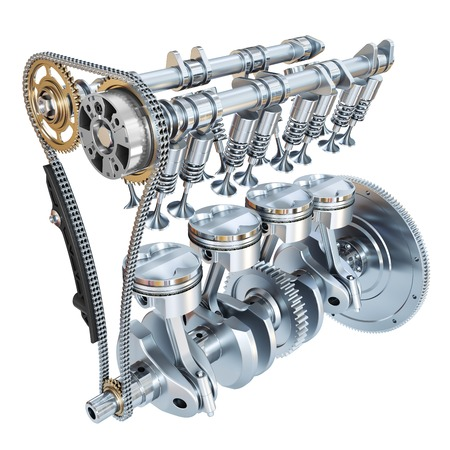 Photo pour System of Internal combustion engine isolated on white background. 3d render - image libre de droit