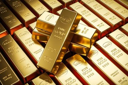 Photo pour Gold bars in bank vault. Storage. 3d render - image libre de droit