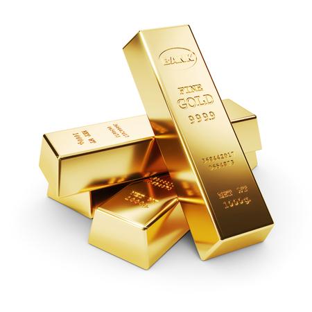 Foto de Group of gold bars isolated on white background 3d render - Imagen libre de derechos