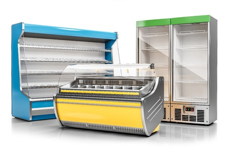 Photo pour Commercial freezer display case, ice cream showcase and vertical refrigeration cabinet isolated on white background 3d render - image libre de droit