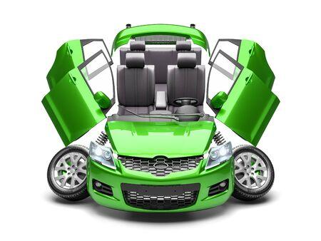 Photo pour Concept of car spare parts. 3d render isolated on white background - image libre de droit