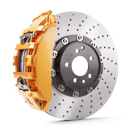 Photo pour Automobile brakes. Orange caliper and brake disk. 3d render - image libre de droit