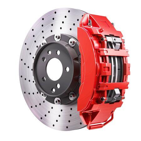 Photo pour Car brakes mechanism. Disk and red caliper. 3d render - image libre de droit