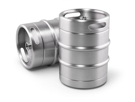 Photo for Two metal beer kegs isolated on white background. 3D render - Royalty Free Image