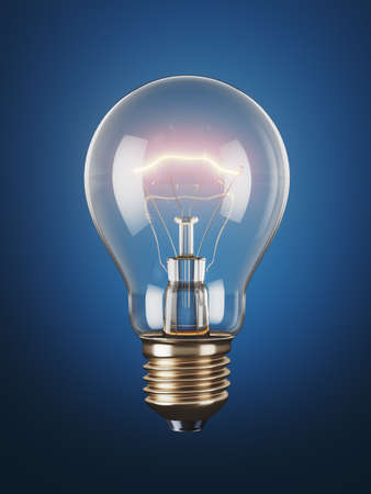 Photo for Classic light bulb on a blue background. 3d render - Royalty Free Image