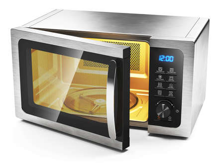 Photo pour Microwave oven with open door isolated on white background 3d - image libre de droit