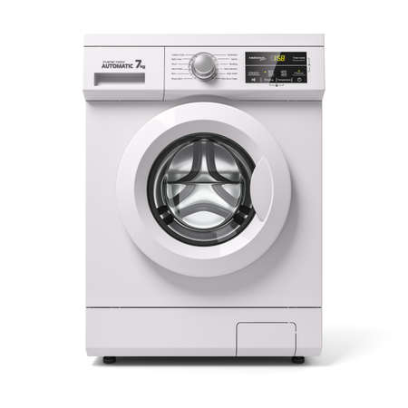 Photo pour Automatic washing machine, front view. 3d render on white background - image libre de droit