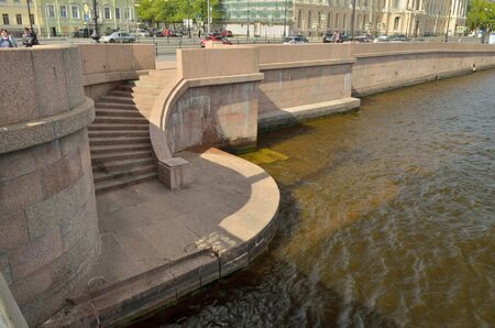 Russia.Saint-Petersburg.The River Neva.All the banks of the river lined with granite stone.