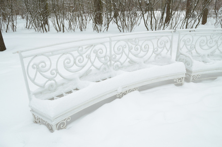 Bench for rest and snow have the same white color.