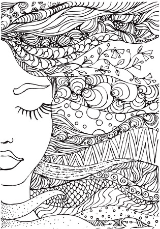 hand drawn ink doodle womans face and flowing hair on white background. Coloring page - zendala, design forr adults, poster, print, t-shirt, invitation, banners, flyers.