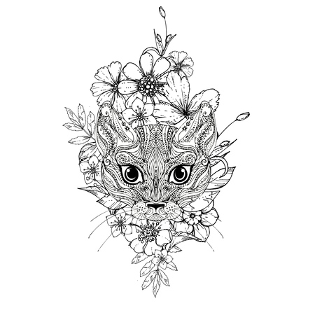 Illustration pour ink doodle cat and flowers on white background. Coloring page -  design for adults, poster, print, t-shirt, invitation - image libre de droit