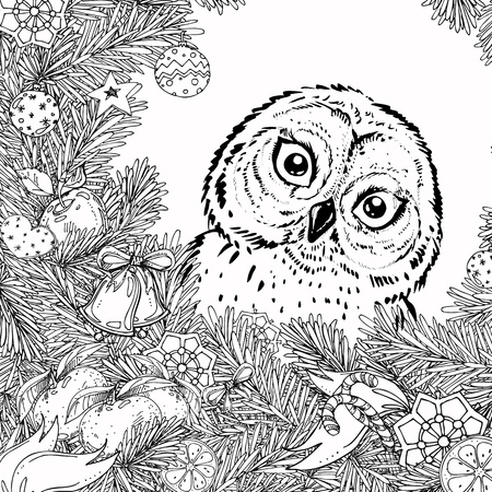 Illustration pour New Year and Christmas frame for coloring book for adult and children. Pattern with owl. hand-drawn vector decorative element. - image libre de droit