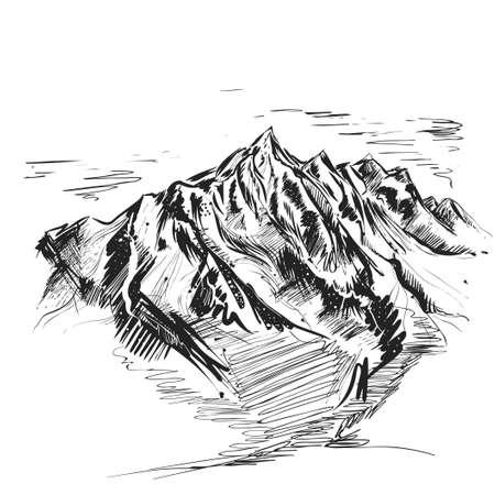 Illustration pour Detailed hand drawn ink black illustration of mountain. sketch. Vector eps 8 - image libre de droit