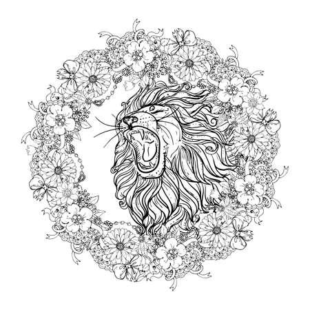 Illustration pour Hand drawn illustration of doodle lion with open mouth and flowers. sketch. vector eps 8 - image libre de droit