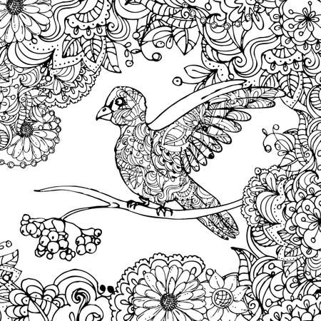 Illustration for hand drawn vector illustration of doodle bird sitting on branch in leaves isolated on white background. - Royalty Free Image