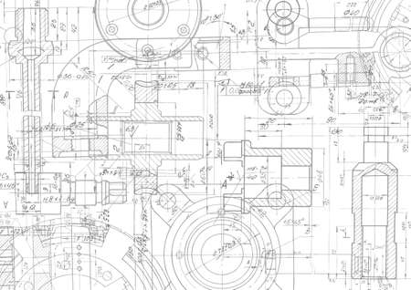 Illustration for Technical drawing background .Mechanical Engineering drawing, vector - Royalty Free Image
