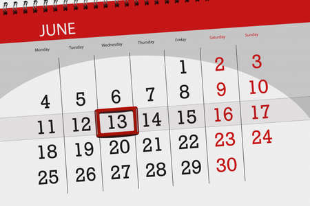 Calendar planner for month, deadline day of the week, wednesday, 2018 june 13