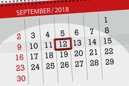 Calendar planner for the month, deadline day of the week 2018 september, 12, Wednesday