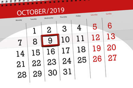 Photo for Calendar planner for the month october 2019, deadline day, 9, wednesday. - Royalty Free Image