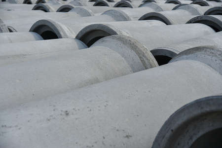 Photo for Reinforced concrete pipes of large diameter for communications. - Royalty Free Image