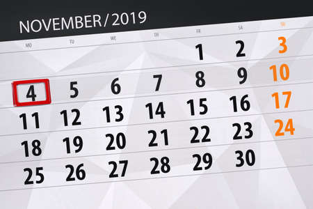 Photo for Calendar planner for the month november 2019, deadline day, 4, monday. - Royalty Free Image