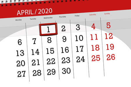 Photo for Calendar planner for the month april 2020, deadline day, 1, wednesday. - Royalty Free Image