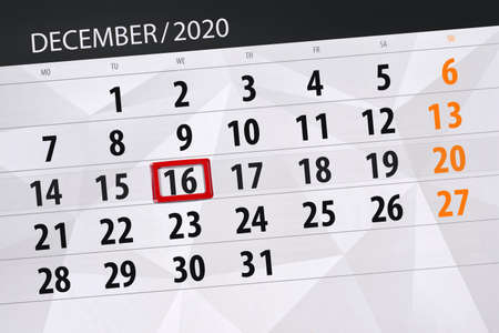 Photo for Calendar planner for the month december 2020, deadline day, 16, wednesday. - Royalty Free Image