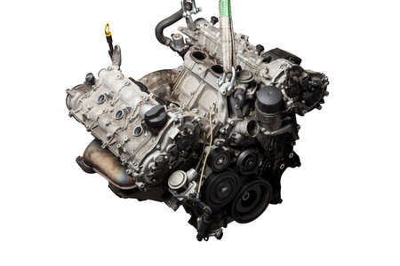 Photo pour Close Up of V6 engine for the maintenance and repair of a car in a auto service on white isolated background. Vehicle parts catalog. - image libre de droit