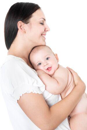 Photo pour Pretty woman holding a newborn baby in her arms - image libre de droit