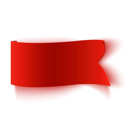 Realistic detailed curved red paper banner, ribbon isolated on white background. Vector illustration