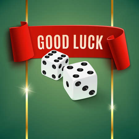 Good luck, casino background wit dice. Vector illustration