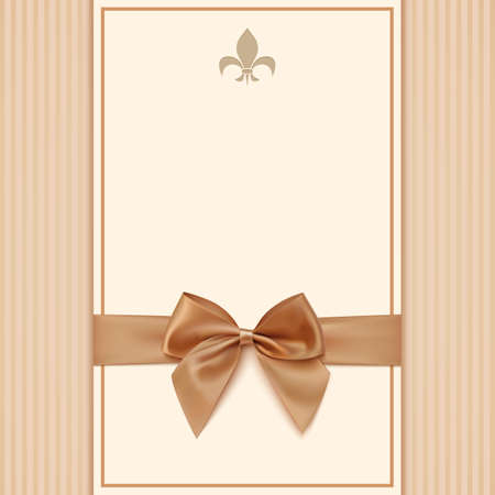Vintage greeting card template with golden bow and ribbon. Invitation. Vector illustration