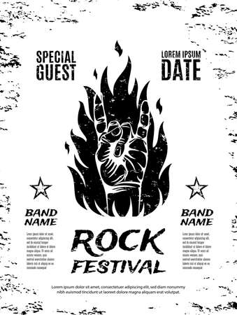 Grunge, rock festival poster, with rock n roll sign and fire. Vector illustration.