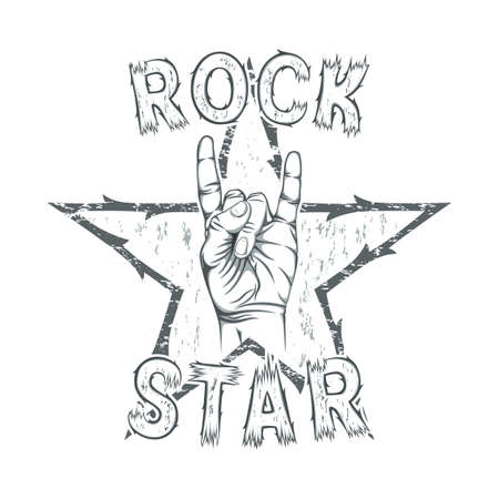 Rock star, print for t-shirt graphic. Vector illustration.