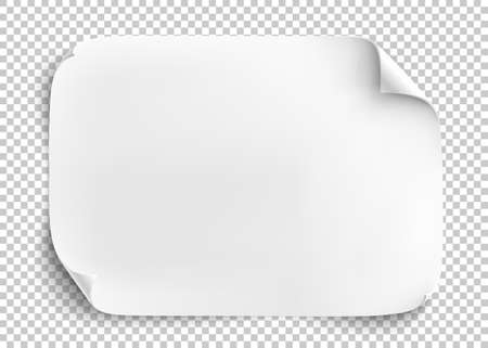 White sheet of paper on transparent background.