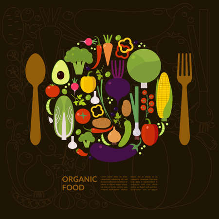 Organic food. Elements and icons for cards, illustration, poster and web design.のイラスト素材