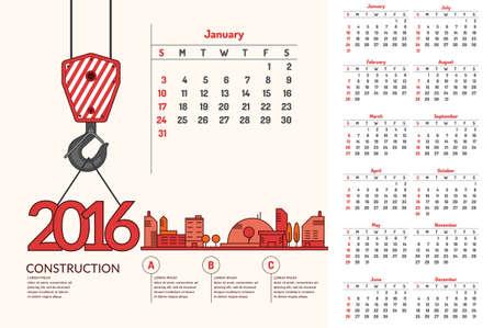 Construction. Vector illustration of calendar for 2016