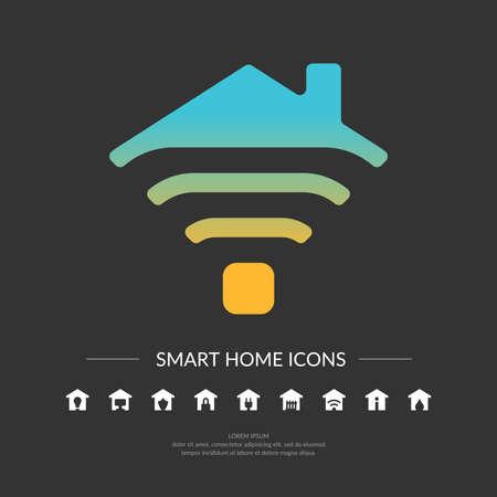 Set. Smart home icons. Element for cards, illustration, poster and web design.