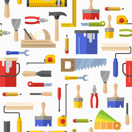 Illustration pour Seamless pattern with tools for repair. Vector illustration. Roller, brush, paint, pencil, tool, hammer, tape measure, putty knife, pencil. - image libre de droit