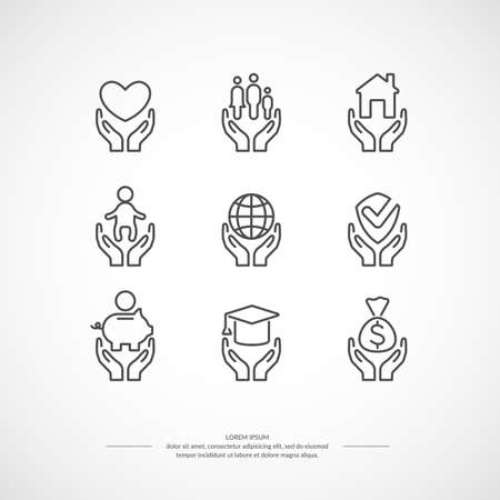 Illustration for Set of linear icons support and care. Set conceptual icons life insurance and property. - Royalty Free Image