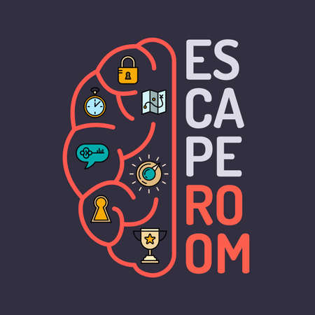 Illustration for Real-life room escape and quest game poster. - Royalty Free Image
