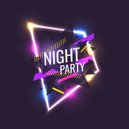 Ilustración de Original poster for night paty. Geometric shapes and neon glow against a dark background. Vector illustration. - Imagen libre de derechos