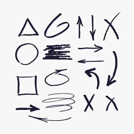 Illustration pour Set of vector elements for presentations drawn with a marker. - image libre de droit