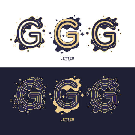 Illustration for The letter G of the Latin alphabet. Display character in a contemporary style. A sign with dynamic splashes. - Royalty Free Image