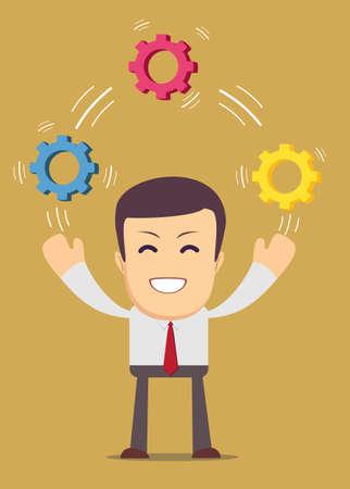 Man juggling with cog wheels, symbolizing strategic thinking, creativity.
