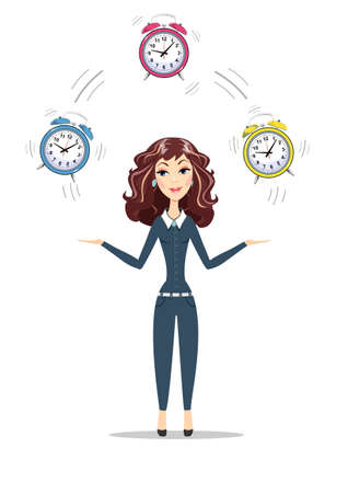 Business woman holding Time