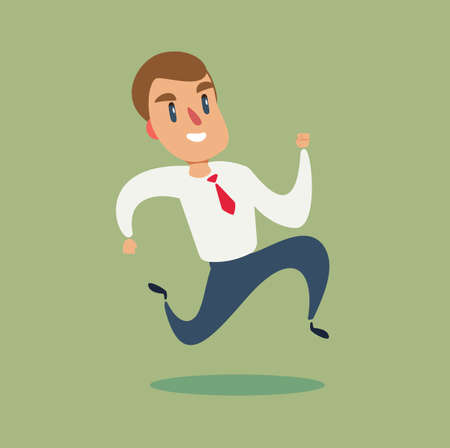 Illustration for businessman run. Business concept vector illustration. race to success - Royalty Free Image