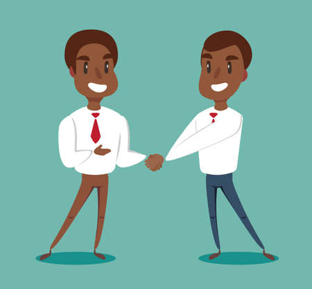 Illustration pour Two black african american businessmen shaking hands to seal an agreement. Vector. - image libre de droit